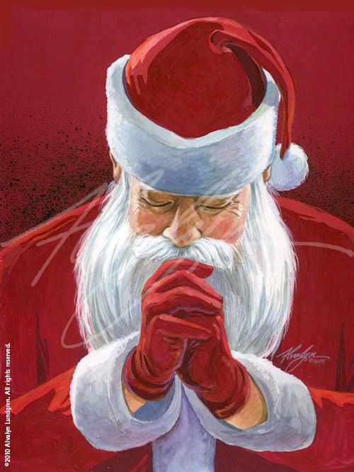An original image of Santa Claus in prayer. Original illustration created in watercolor, gouache and colored pencil on paper.