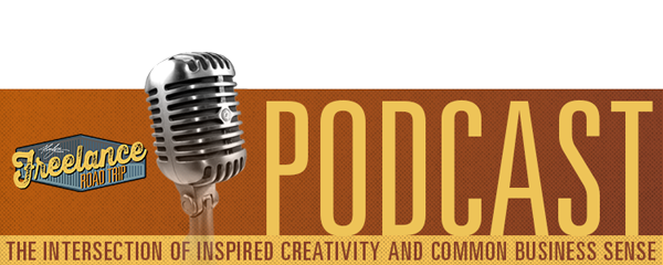 Freelance Road Trip Podcast with Alvalyn Lundgren mic promo banner