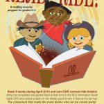 Read and Ride literacy program flyer ©2015-16 Alvalyn Lundgren.