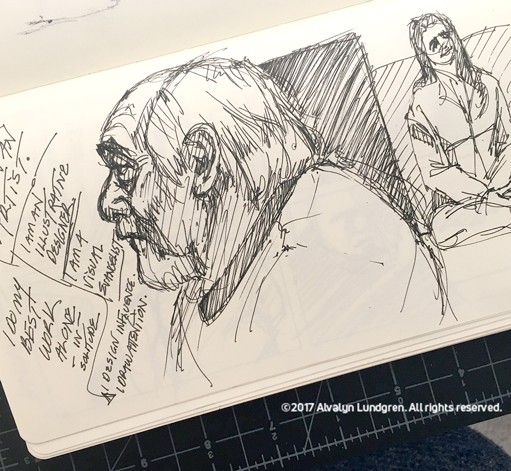 sketch of Tony Luna during Crafting A Meaningful Career at Art Center at Night by Alvalyn Lundgren